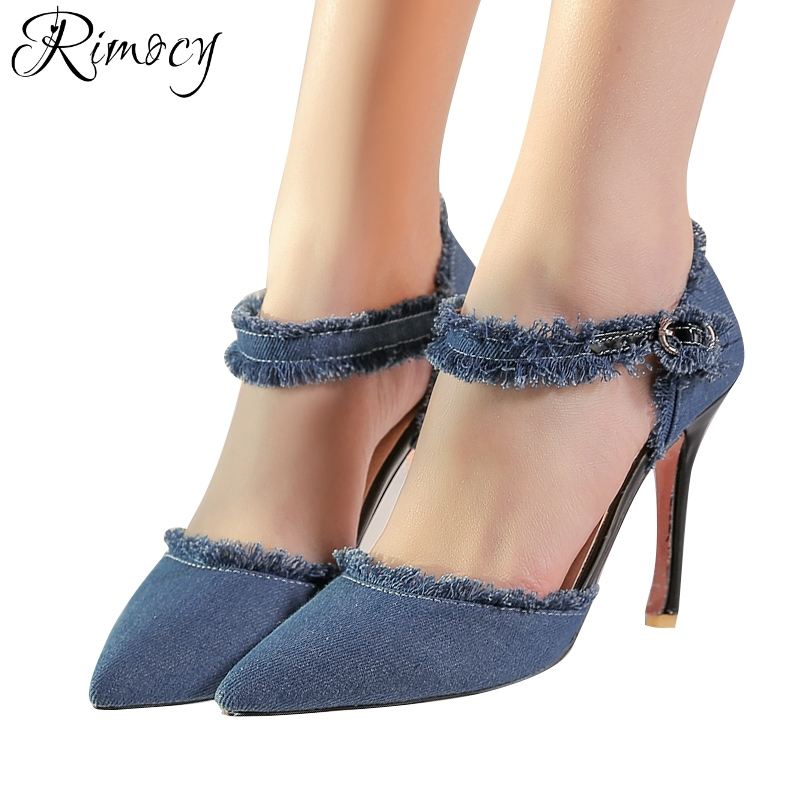 dbcdcac93e41 Rimocy plus size 31 47 blue denim pumps women 2018 brand design ankle strap  vintage fringe sandals woman thin high heels shoes-in Women s Pumps from  Shoes ...