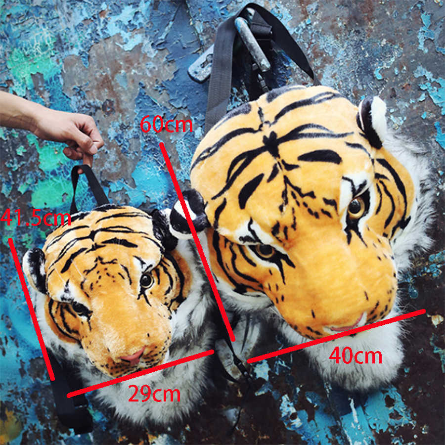 ... Fashion Plush 3D Tiger Lion Head Backpack Panda Backpack Unisex  Personality Couple Animal Backpack Student Funny ...