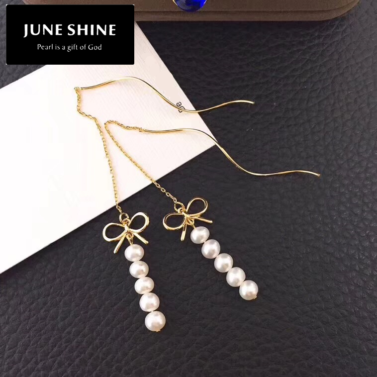 Nature Freshwater Pearl Drop Earring White Pearl Ear Thread Bowknot women jewelry Christmas gift Free devivery DE018