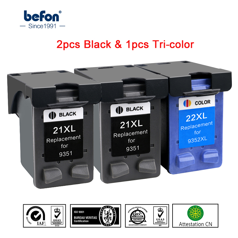 befon 21 22 XL 2 Black 1 Color Ink Cartridge Replacement for HP 21 22 HP21 21XL 22XL Deskjet F2180 F4180 F380 300 380 Printer for hp21 22 printer ink href