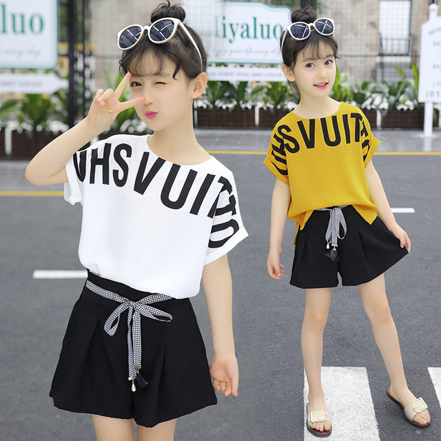 Summer Children Clothing Sets For Girls 2019 Fashion Letter Print Tshirts Tops Shorts Teenage Clothes 2Pcs Kids Suit 10 12 Years
