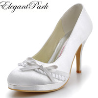 EL 032 PF Fashion Ivory Round Toe Platforms Bowknot Satin 4inch 10cm Size34 35 41 Ladies