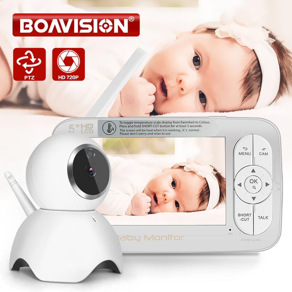 HD 720P Wireless Baby Monitor PTZ 360 Degree <font><b>5</b></font> Inch LCD Zoomable Baby Camera Night Vision Babysitter Nanny Video Security Camera image