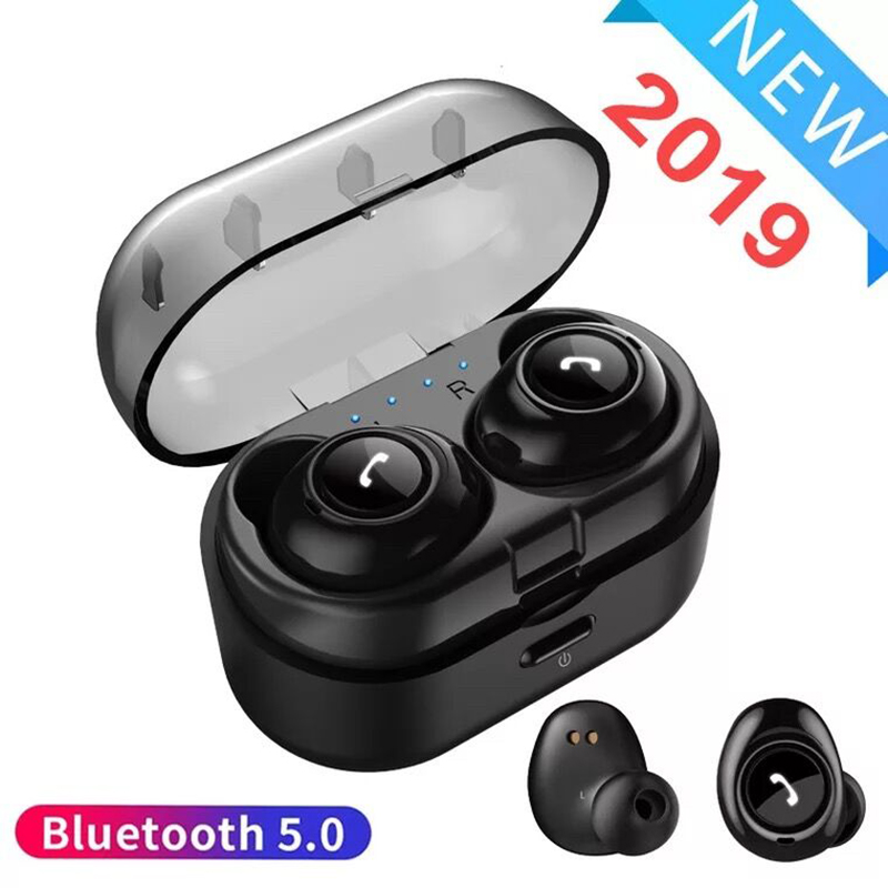 Invisible Mini Bluetooth 5.0 Wireless Earphones <font><b>TWS</b></font> Earbuds Stereo Deep Bass Headset with Auto charging box blue tooth ear buds image