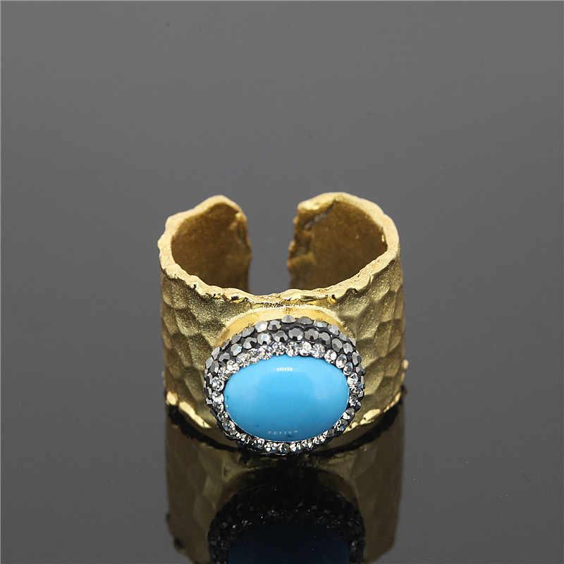 1 sztuk Brand New biżuteria 24 K Metal natura pierścień szeroki otwór kamień okrągły pierścień dla kobiet