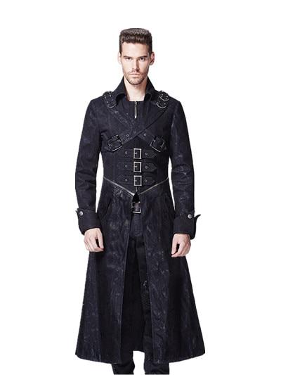 2018 Gothic Black Höst och Vinter Lång Windbreaker Män Steampunk - Herrkläder - Foto 1