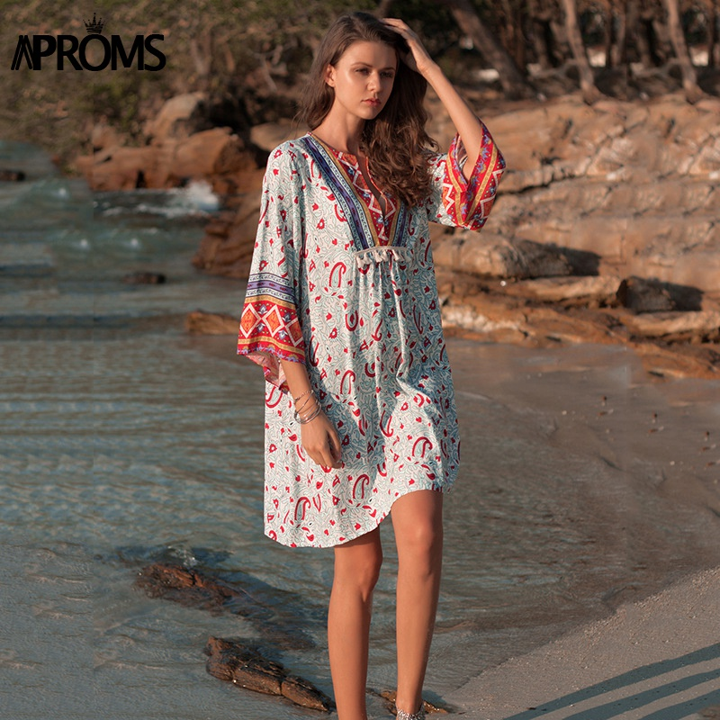 9aace53661a Aproms Elegant 3/4 Sleeve Summer Dress Women Bohemia Print Tassel Patchwork  Loose Beach Dresses