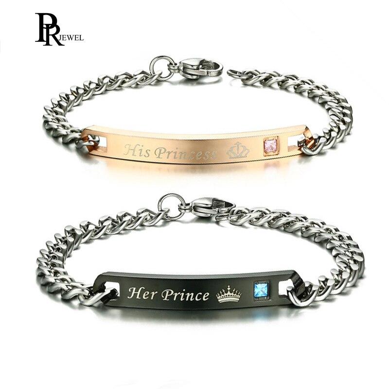 Romantische Paar Armbänder für Frauen Männer Liebe Geschenk Seine Prinzessin und Ihr Prinz Krone Charme Valentinstag Graduation Schmuck
