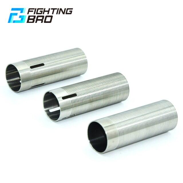 FightingBro cilindro de acero inoxidable para pistola de aire AEG, caja de engranajes de pistola de aire de Paintball M4 AK Gel, 75%, 80%,