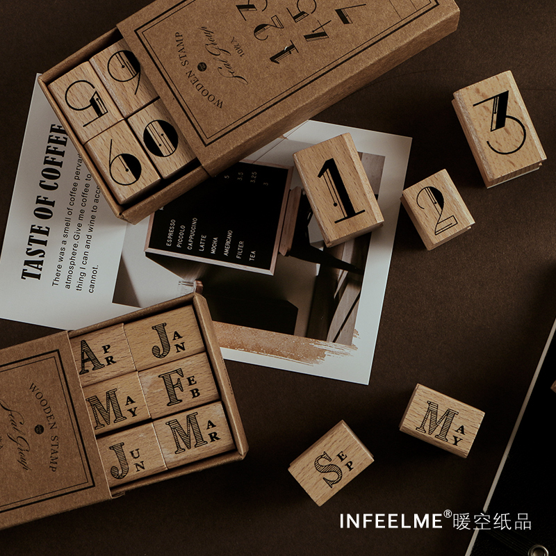 JIANWU 1set Retro Number Month Style Stamp Letter Decoration Wood Rubber Seal Environmentally Friendly DIY Bullet Journal Parts