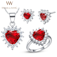 Hansel Wang 2016 New Fashion Red Heart Shaped CZ Diamonds Silver Plated Necklace Earrings Rings For