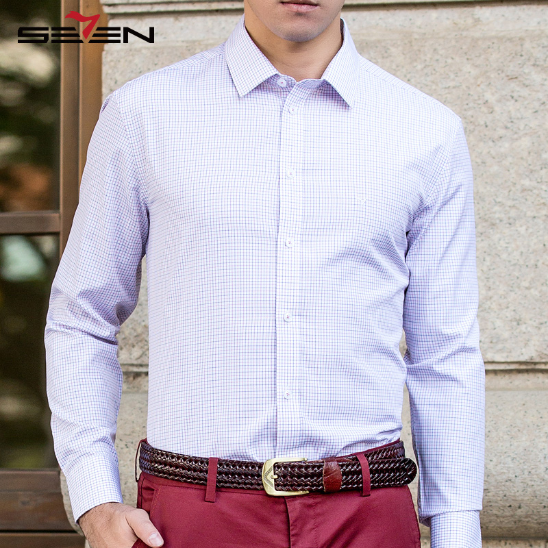 Seven7 Brand High Quality Men Dress Shirts Classic Plaid Button Down Shirts Long Sleeve Slim Business Casual Shirts 108A30200