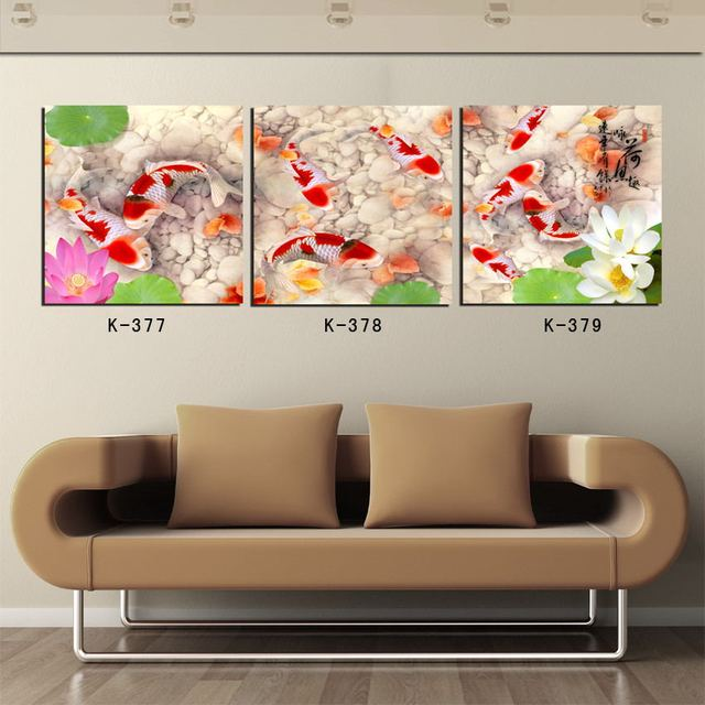 Attractive 3 Piece Koi Fish Wall Art Home Decoration Oil Painting Chinese Painting On  Canvas Home Decor