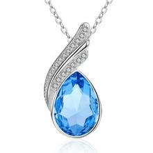 TJP Charm Blue Crystal Waterdrop Women Pendants Necklace Party Accessories New Fashion Silver 925 Girl Choker Bijou