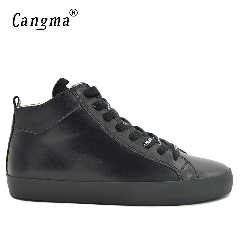 CANGMA Original Durable Genuine Leather Sneakers Men's Trainers Handmade Deluxe Man Black Shoes Mid Lace Up Male Casual Shoes cangma original newest woman s shoes mid fashion autumn brown genuine leather sneakers women deluxe casual shoes lady flats