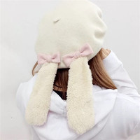2017 new Autumn And Winter Rabbit ears Japanese style cute Lolita Butterfly Berets sweet girls hats