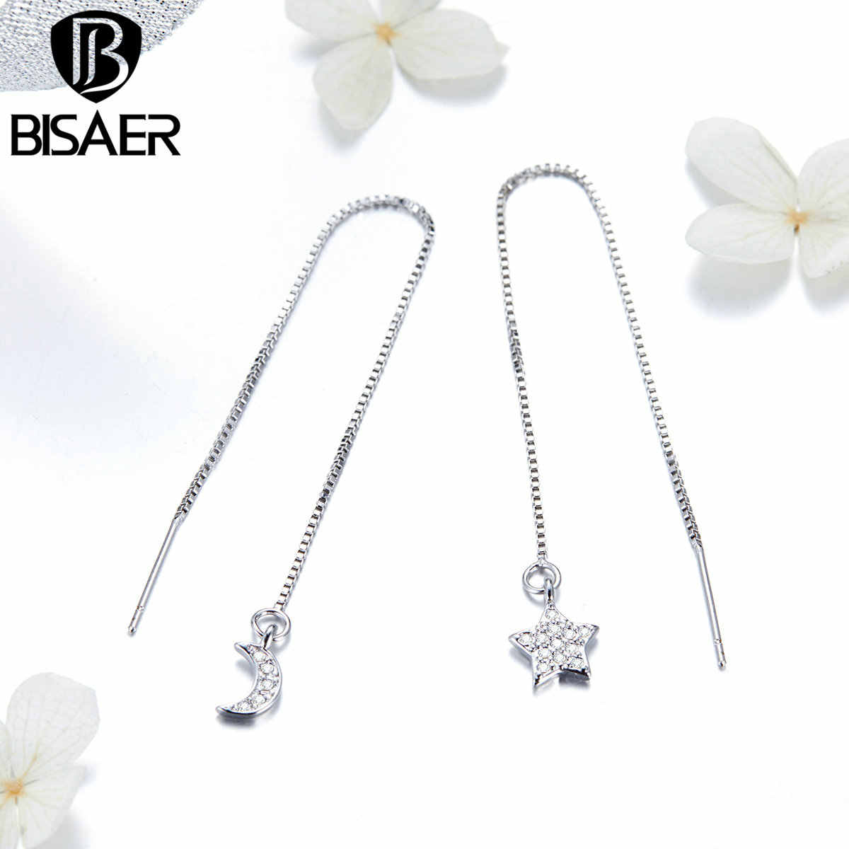 BISAER ירח וכוכב ארוך תיבת שרשרת Drop עגילים לנשים עדין קוריאני תכשיטים Brincos ילדה מתנות GSE166