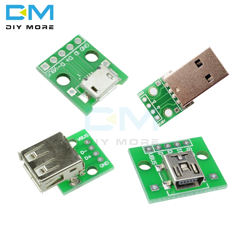 Mini/Micro USB To DIP Type A Female/ Male USB Adapter Converter For 2.54mm PCB Board DIY Power Supply For Arduino Module