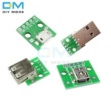 Mini/Micro USB to DIP Type A Female/ Male USB Adapter Converter for 2.54mm PCB Board DIY Power Supply For Arduino Module(China)