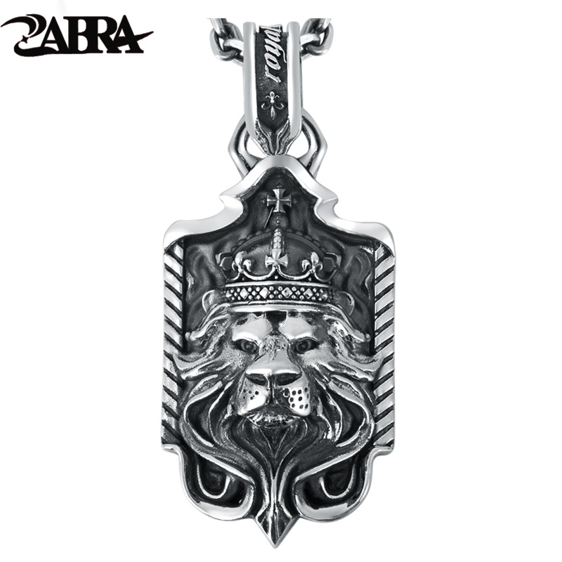 ZABRA Solid 925 Sterling Silver Lion King Crown Big Pendant Necklace for Mens Thai Silver Handmade Vintage Punk Rock Men Jewelry