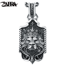 ZABRA Solid 925 Sterling Silver Lion King Crown Big Pendant Necklace for Mens Thai Silver Handmade Vintage Punk Rock Men Jewelry