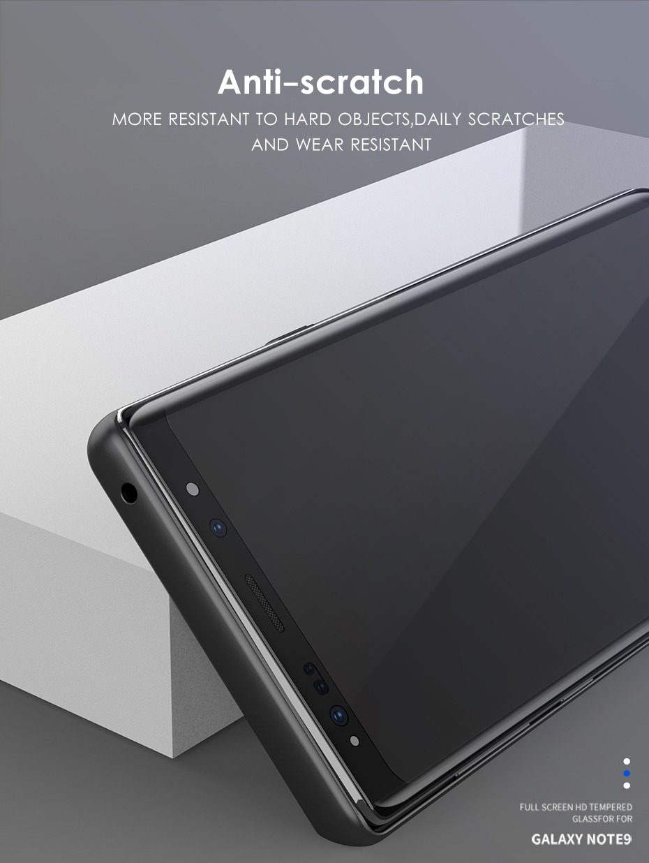 original Tempered Protective Glass Protector Curved Edges Full Covered Touch Screen Protection for Samsung Galaxy Note 8 9_08