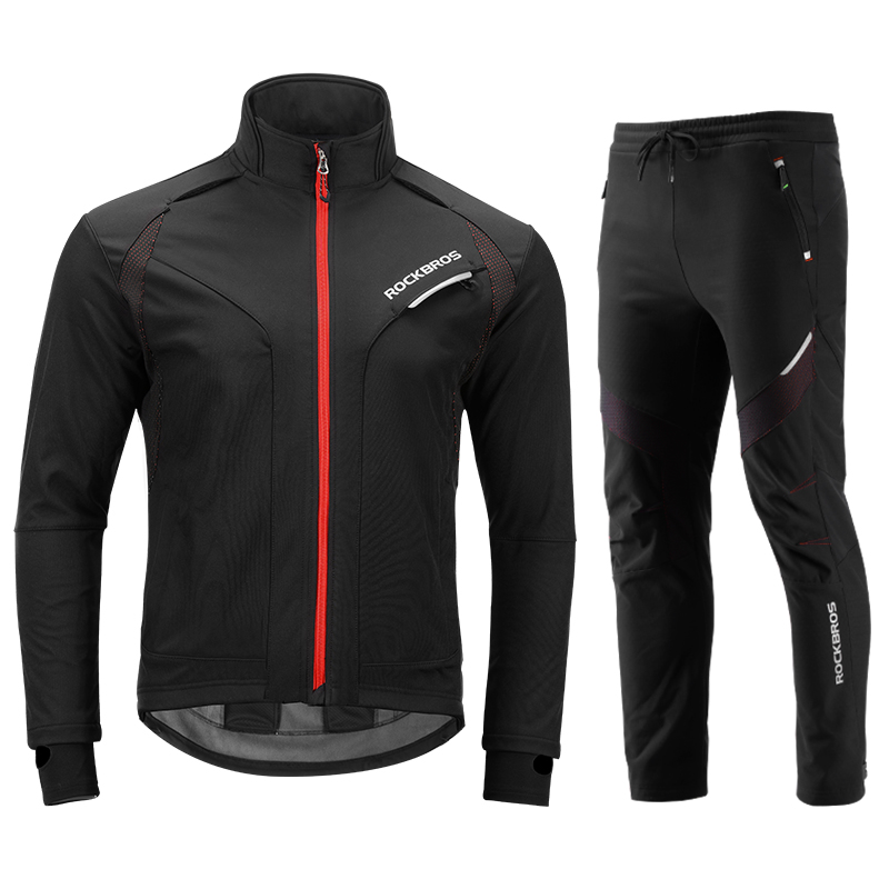 ROCKBROS Men Long sleeve Cycling Sets Winter Thermal Fleece Jersey Windproof Bicycle Jacket MTB Road Bike Riding Sport Clothings