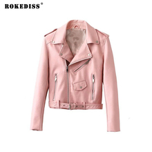 ROKEDISS 2017 New Autumn Witner Women Motorcycle Faux PU Jackets Lady Biker Outerwear Coat with Belt Hot Sale X002
