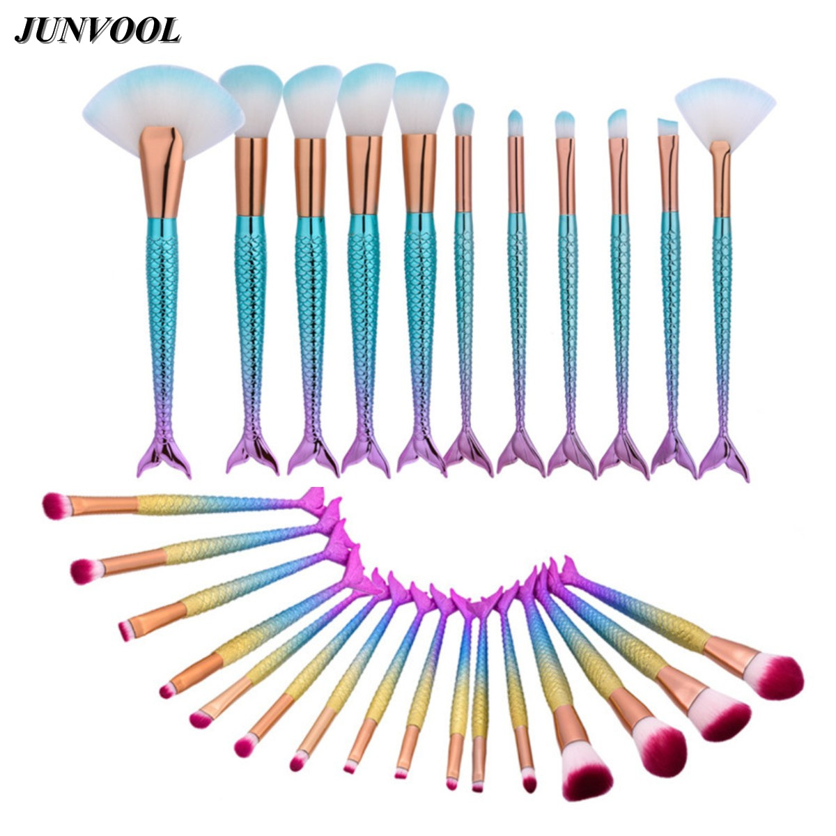 Newest Mermaid Makeup Brushes Set Fantasy Eyebrow Eyeliner Blush Blending Contour Foundation Cosmetic Beauty Make Up Fish Brush
