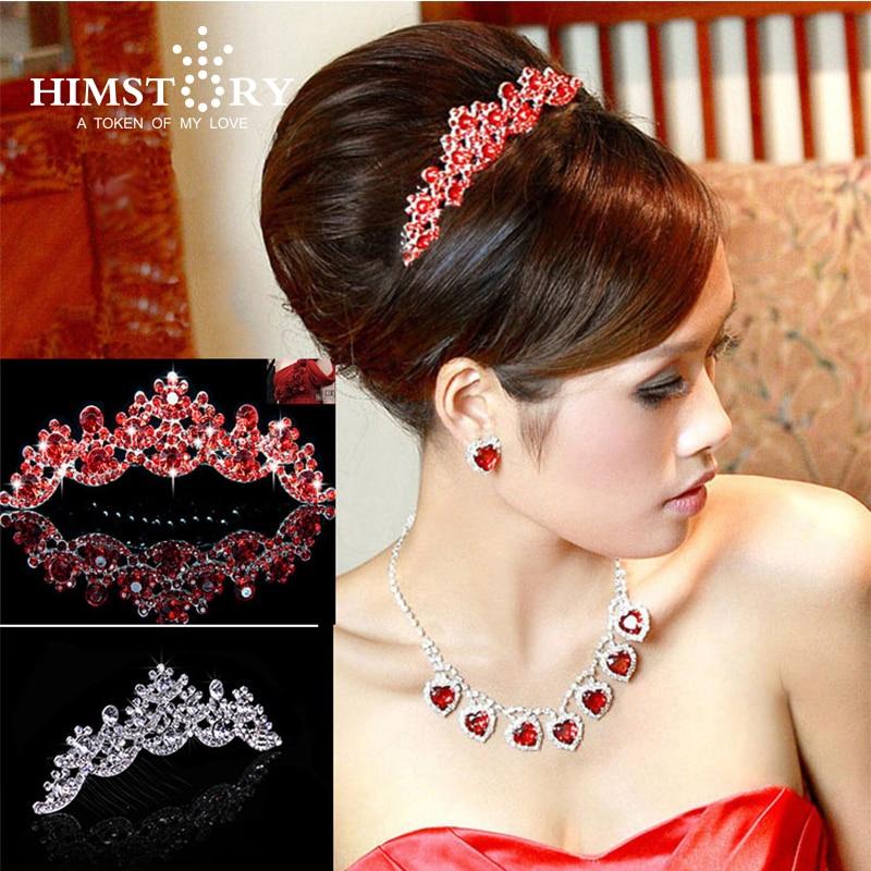 HIMSTAORY Stříbrná / Červená NOVINKA Svatební Prom Bridal Bridesmaid Crystal Veil Tiara Korunní princezna průvod