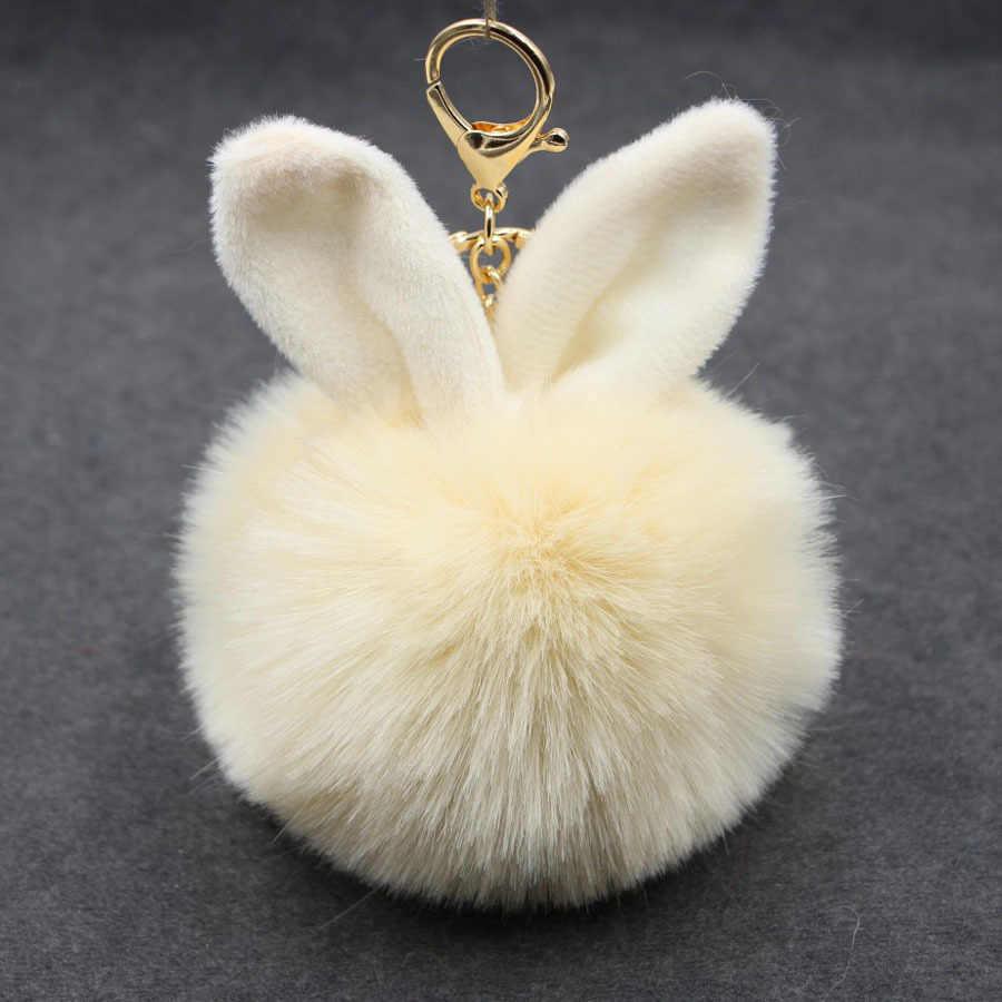 De alta calidad de peluche de Orejas de conejo de piel bola clave cadena titular pompón Artificial de piel de conejo llavero llaveros mujeres coche bolso llavero