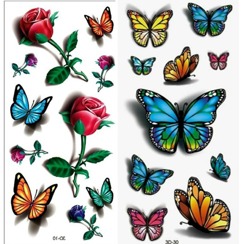 2PCS 3D Rose Tattoo Body Art Chest Sleeve Stickers Glitter Temporary Tattoos Removal Fake Small Rose Design For Body Tattoo Arm