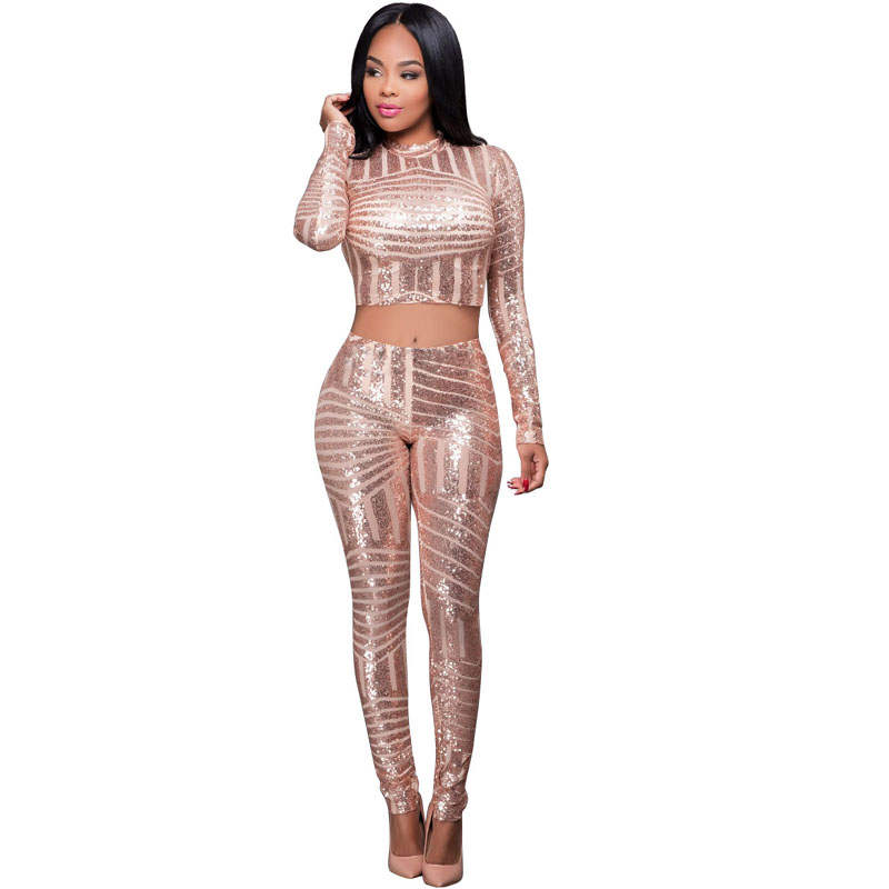 26e045ffe735 Sequined Long Sleeve Women Two Pieces Sets Crop Top + Long Pant 2017 Bodycon  Skinny Sexy