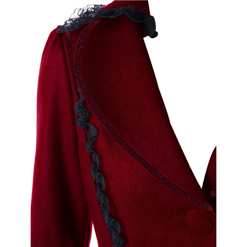 VESTLINDA Outerwear Coats Women Lace Panel Lace-Up High Low Coat Winter Coat Women New Fashion Casual Long Tops Black Red 2017 8