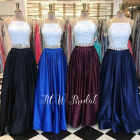 Hot Selling 2 Piece Prom Dresses Whit Lace Top A Line Floor Length Satin Skirt Long Sexy Evening Gowns Robe De Soiree 2019 New