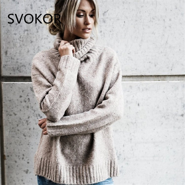 5f54372eb98 SVOKOR Sweaters Women Plus Size Turtleneck Keep Warm Solid Round Long  Sleeve Thick Women Knitted Sweaters Pullovers 3 Colour