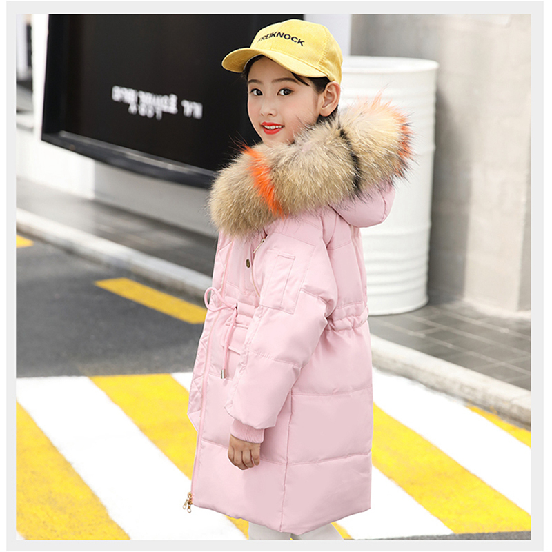 -30 Degree Children's Winter Jackets Fur Duck Down Children Clothing 2018 Girls Boys Warm Winter Down Coat Thickening Outerwear
