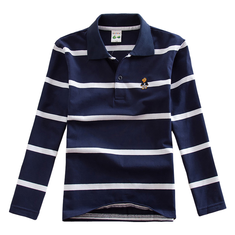 Famli Teen Boys 3Y-16Y Polo Shirt Kids Spring Autumn Fashion Long Sleeve Striped Cotton T-shirt Children Boys Tee Top 14 16