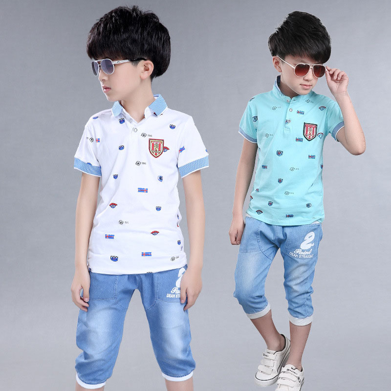 Boys Summer Clothing Sets for Children Sports Clothes Sets Boys Tracksuits Kids Cotton t-shirt & Pants Suits 4 6 8 10 12 Years 5