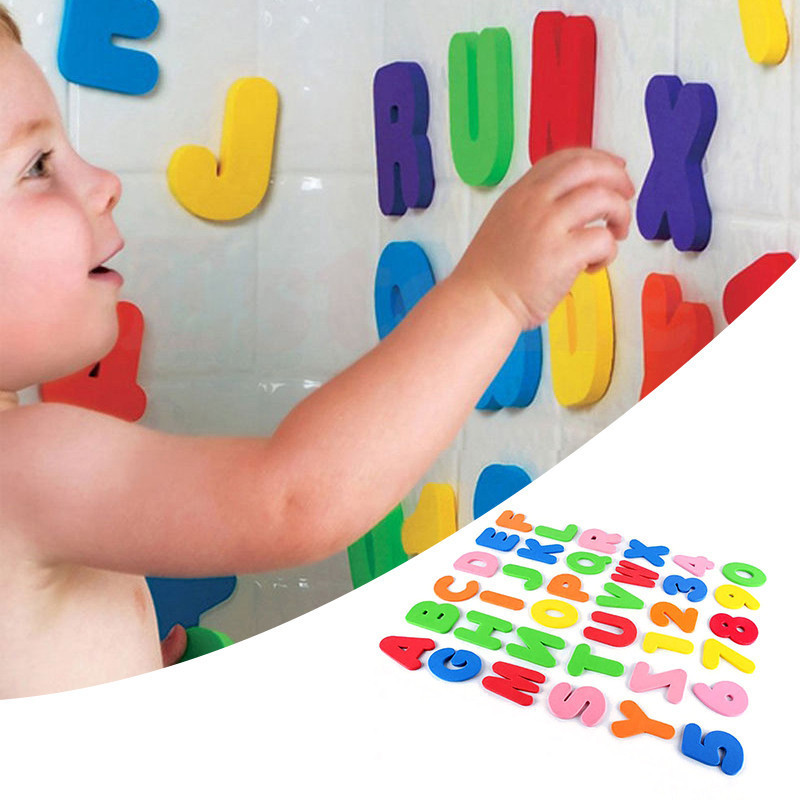 MINOCOOL 36x Foam Letters Numbers toy Educational Bathroom Bathtub Toys for Kids Baby Wall Stickers 26 Letters + 10 Numbers