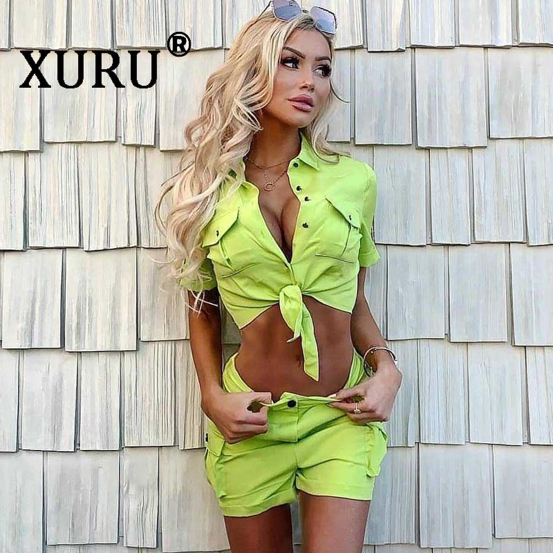 XURU summer new womens lace denim shorts jumpsuit two-piece sexy fashion casual suit