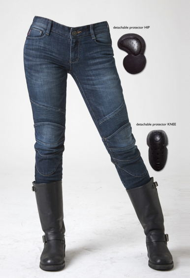With Protections! uglyBROS Featherbed Women Jeans Riding A Motorcycle Jeans Trousers Blue uglybros vegas jeans hidden side of the knee motorcycle riding motorcycles jeans trousers blue
