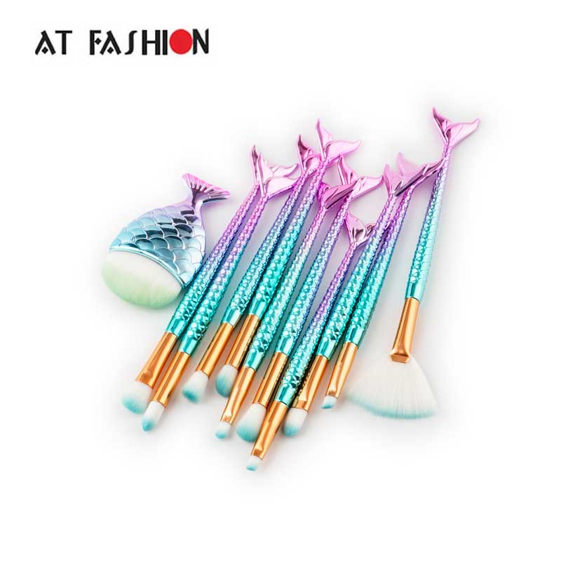 AT FASHION Fish Brush Mermaid Makeup Brushes Set Fantasy Eyebrow Eyeliner Blush Brush Set Fish tail make up pincel maquiagem 2017 new mermaid makeup brushes foundation eyebrow eyeliner blush cosmetic concealer fish tail make up brushes brush tools lz06