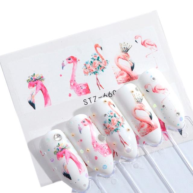 1 шт Nail Стикеры s переноса воды стикер мультяшка Фламинго милые животные дизайнов ногтей ползунок Маникюр украшения TRSTZ659-673