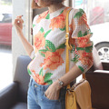 New Design mulheres blusa de Organza 2016 primavera flor impresso blusa blusa de manga comprida elegante Sweet Girl Shirt marca Tops AH67