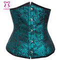 Corzzet Green Lace&Satin Steel Boned Steampunk Underbust Corsets And Bustries Slimming Waist Cincher Underbust Corselet