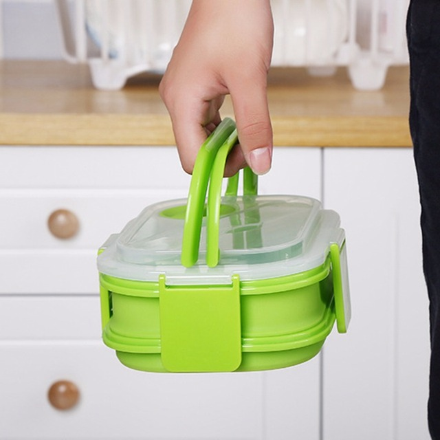 2 Layer Colorful Silicone Lunch Box With Handle. Portable Lunch Box For Kids.