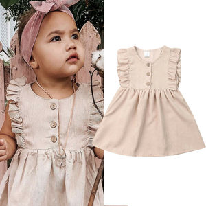 2019 Baby Summer Clothing Toddler Baby Girl Solid Dress Ruffles Sleeveless Princess Casual Dress A-Line Party Lace Sundress 1-6Y(China)
