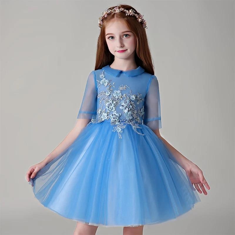 купить 2018 Summer New Children Girls Blue Birthday Party Princess Prom Dress Baby Kids Elegant Flowers Tutu Piano Pageant Short Dress недорого
