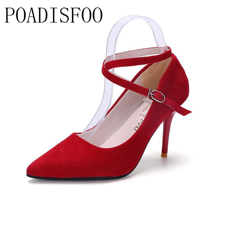 POADISFOO 2017 Korean Women 's Spring And Summer New Singles Pointed Shallow Mouth With High Heels Sandals .LSS-9998 2017 spring and summer new women s shoes female pointed shallow mouth slope with high heel shoe side empty leather woman s shoes